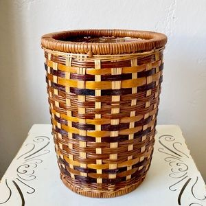 Vintage multi toned wicker basket
